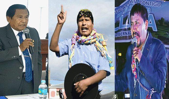 Zenón Cuevas (en Moquegua)Walter Aduviri (Puno) y Elmer Cáceres Llica (Arequipa)