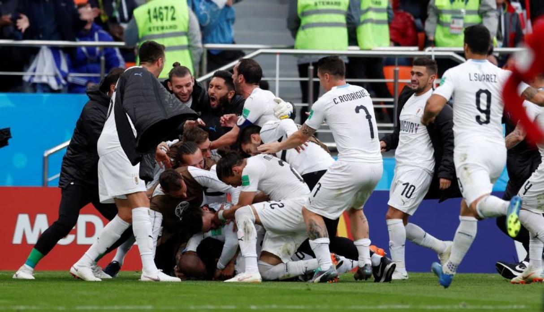 Uruguay derrotó en la agonía del partido por 1-0 a Egipto en su debut en Rusia 2018