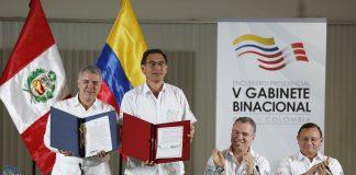 Los jefes del Estado del Perú, Martín Vizcarra y de Colombia, Iván Duque, firmaron la Declaración Presidencial Conjunta del Encuentro Presidencial y V Gabinete Binacional.