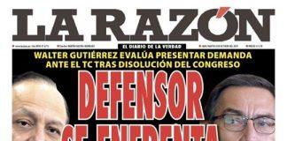 Portada impresa – Diario La Razón (08/10/2019)