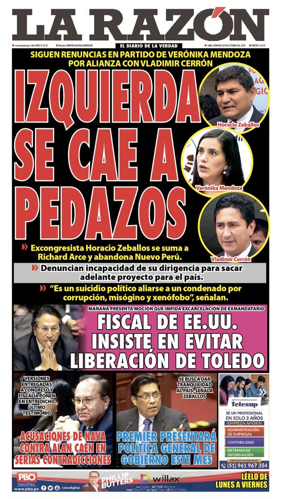 Portada impresa - Diario La Razón (20/10/2019)