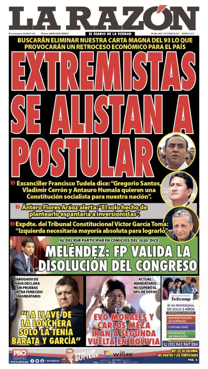 Portada impresa - Diario La Razón (21/10/2019)