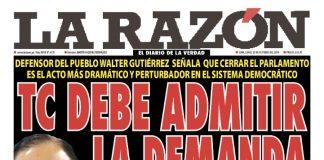 Portada impresa - Diario La Razón (26/10/2019)