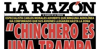 Portada impresa - Diario La Razón (25/10/2019)