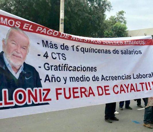 Trabajadores de la empresa Agroindustrial Cayalti marcharon hoy por las calles de Chiclayo, exigiendo la salida del actual gerente Augusto Cilloniz Benavides