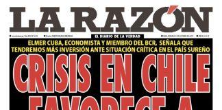 Portada impresa - Diario La Razón (27/10/2019)