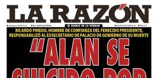 Portada impresa - Diario La Razón (28/10/2019)