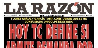 Portada impresa - Diario La Razón (29/10/2019)