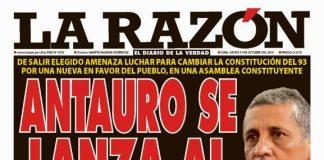 Portada impresa - Diario La Razón (31/10/2019)
