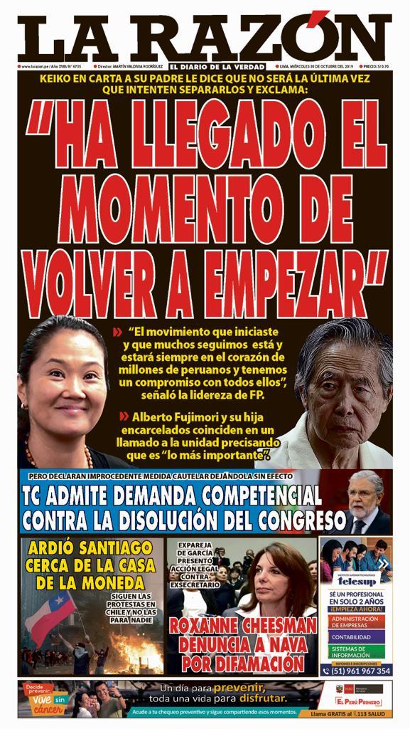 Portada impresa - Diario La Razón (30/10/2019)