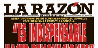 Portada impresa - Diario La Razón (1/11/2019)