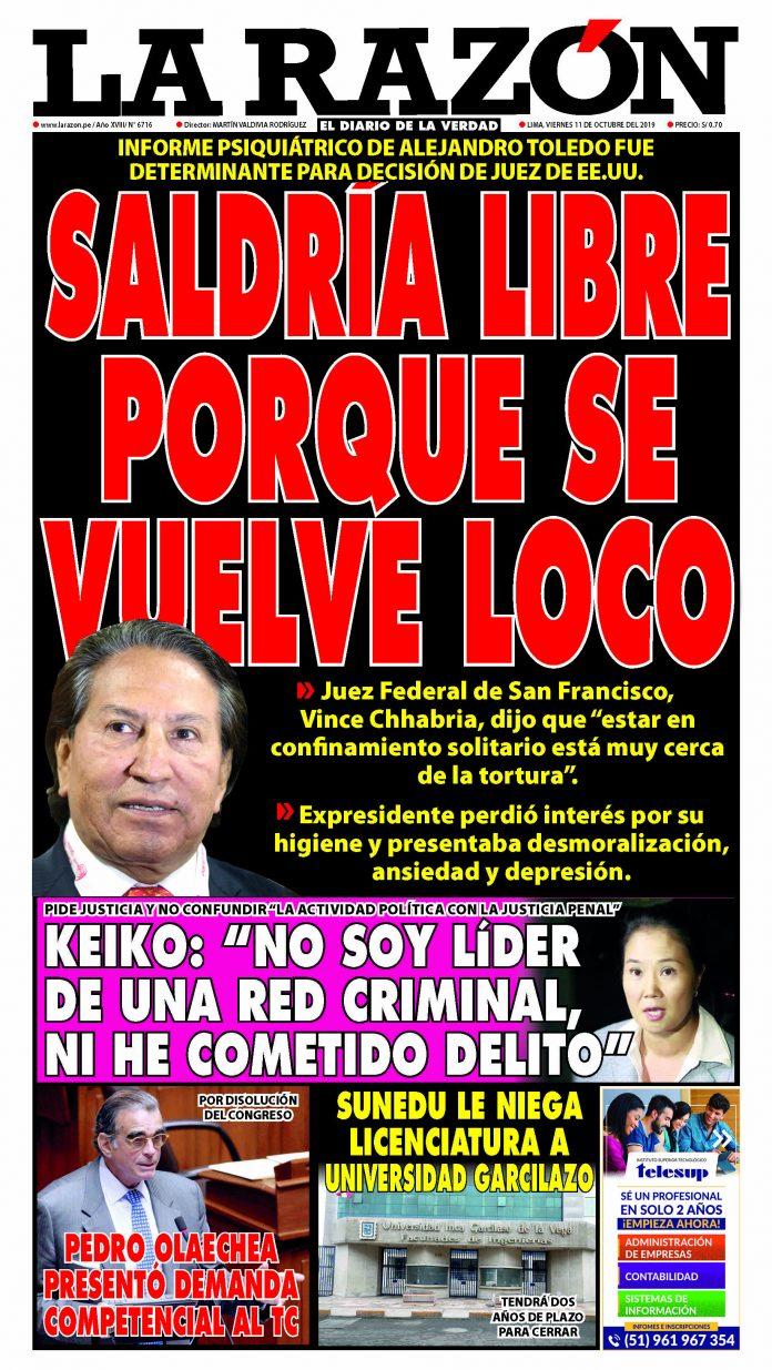 Portada impresa – Diario La Razón (11/10/2019)
