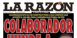 Portada impresa - Diario La Razón (04/11/2019)