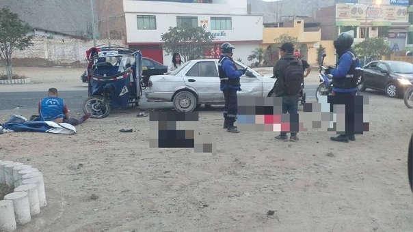 Un muerto y cinco heridos en choque de mototaxi con auto
