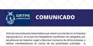 Gerencia Regional de Trabajo de Lambayeque interviene en caso Agropucala