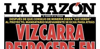 Portada impresa - Diario La Razón (03/11/2019)
