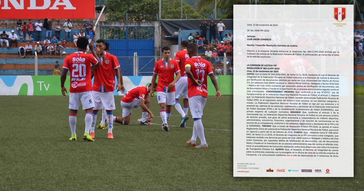 FPF quita 4 puntos a Unión Comercio en la Liga 1