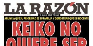 Portada impresa - Diario La Razón (02/11/2019)