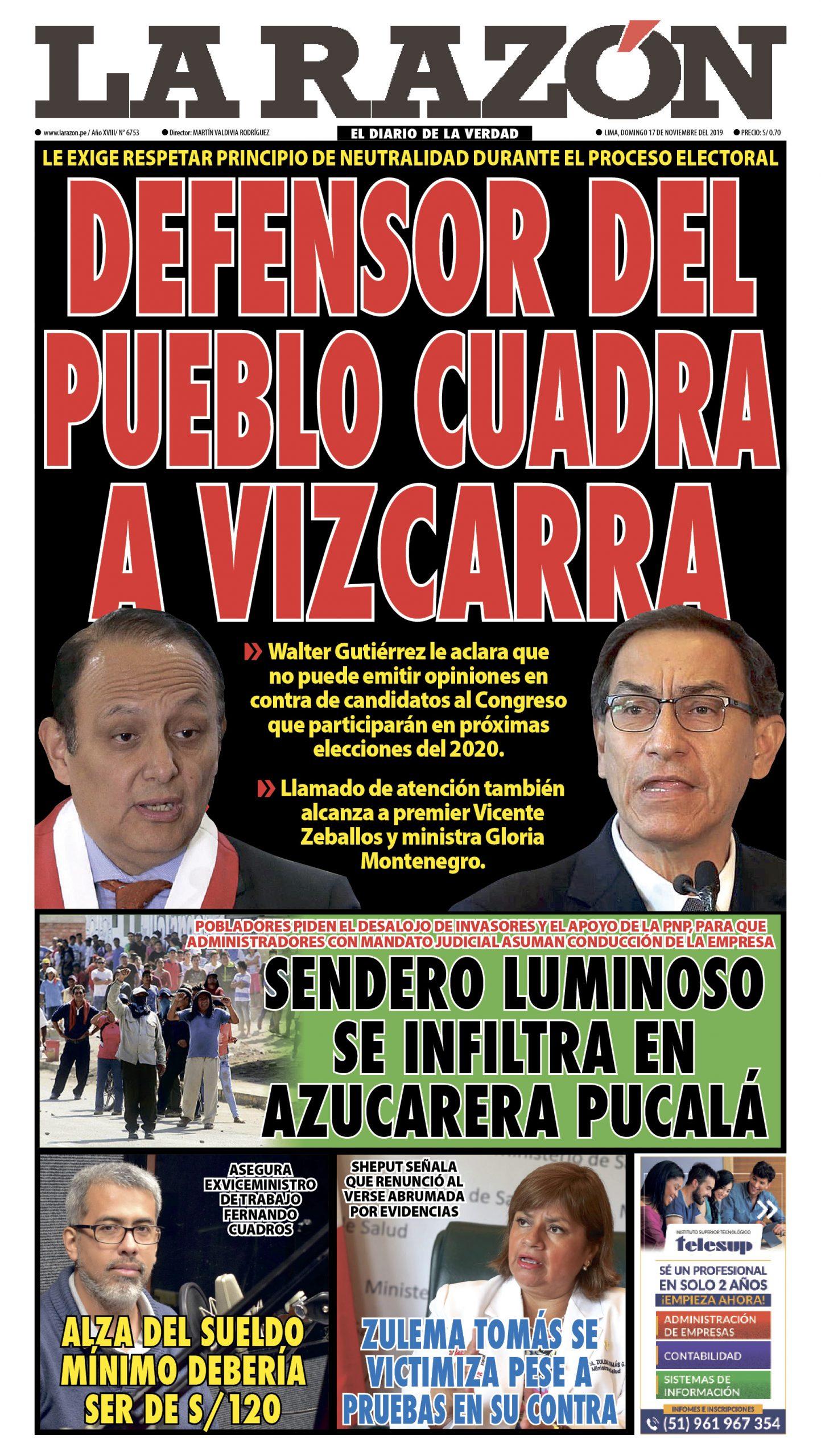 Portada impresa – Diario La Razón (17/11/2019)