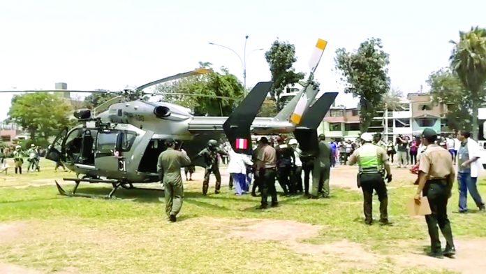 Un helicóptero de la PNP tuvo que trasladar al policía hasta el hospital de Policía
