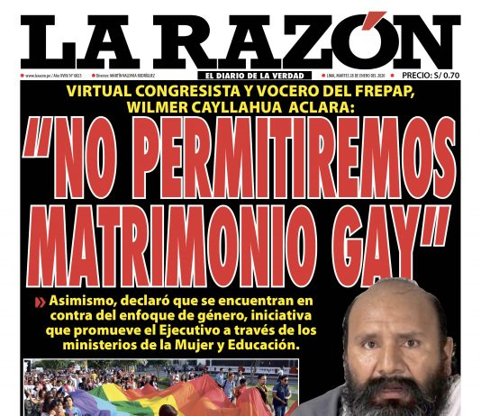 Portada impresa – Diario La Razón (28/01/2020)