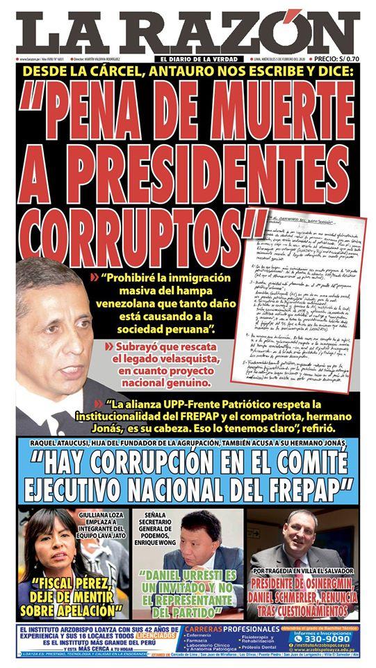 Portada impresa – Diario La Razón (05/02/2020)