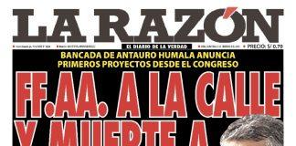 Portada impresa – Diario La Razón (02/02/2020)