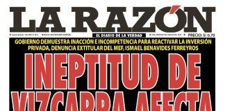 Portada impresa – Diario La Razón (09/02/2020)
