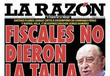 Portada impresa – Diario La Razón (16/02/2020)