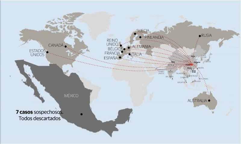 Estos son los países y territorios que reportaron contagios y muertes por coronavirus