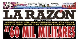 Portada impresa – Diario La Razón (23/02/2020)