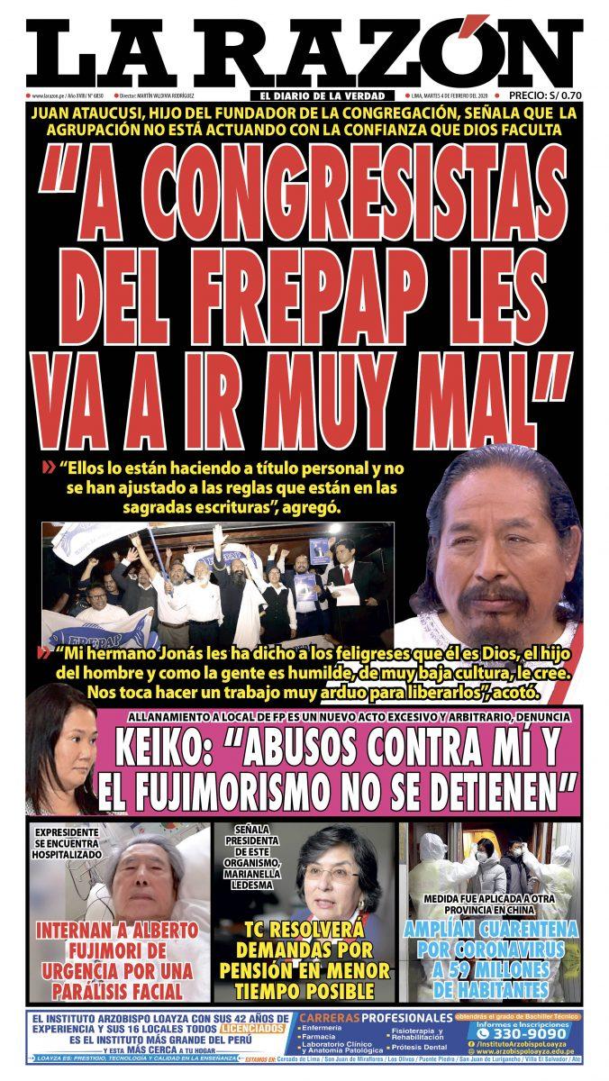 Portada impresa – Diario La Razón (04/02/2020)