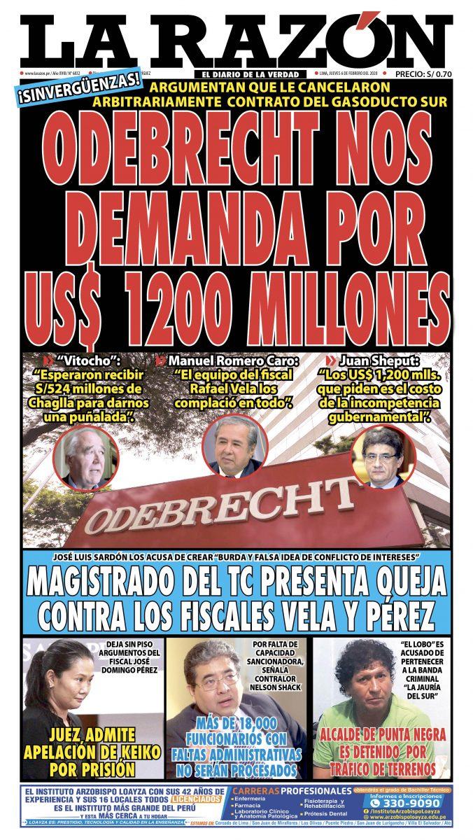 Portada impresa – Diario La Razón (06/02/2020)
