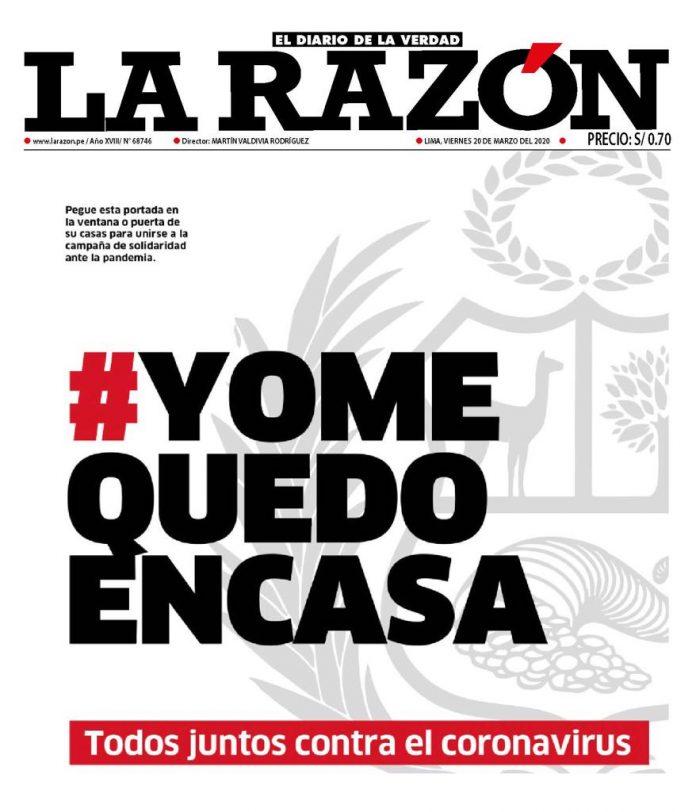 Portada La Razón 20-03-2020