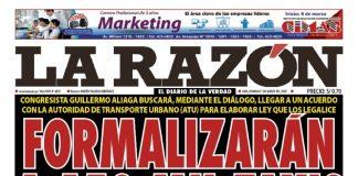 Portada impresa – Diario La Razón (01/03/2020)