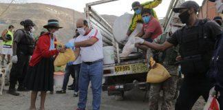 La Municipalidad de Pachacámac entrega víveres a las familias en situación de vulnerabilidad.