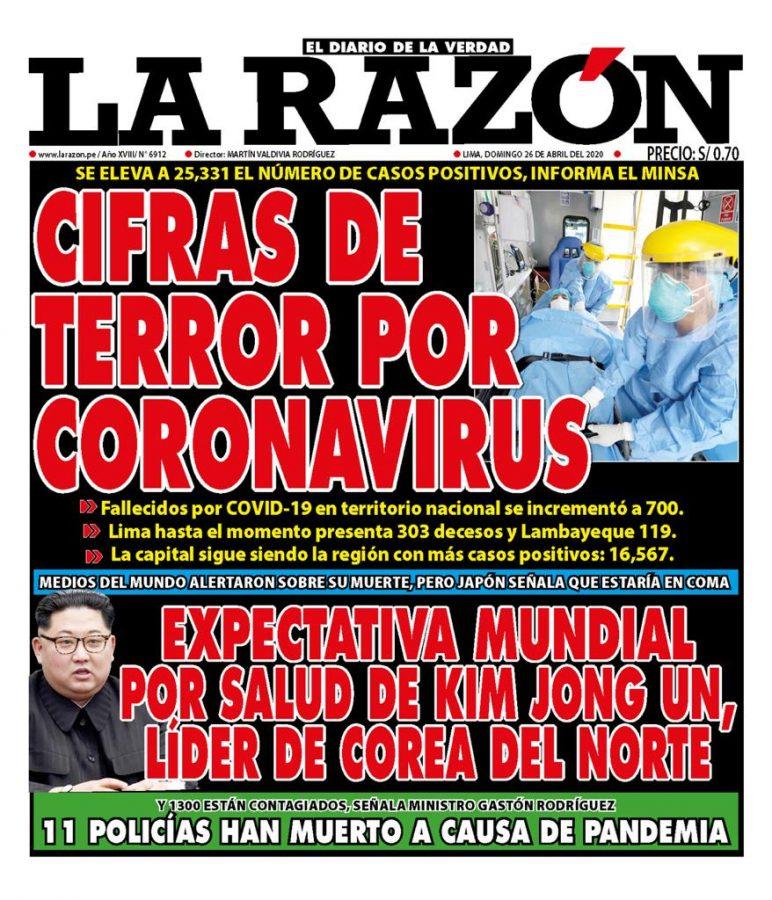 Portada impresa – Diario La Razón (26/04/2020)