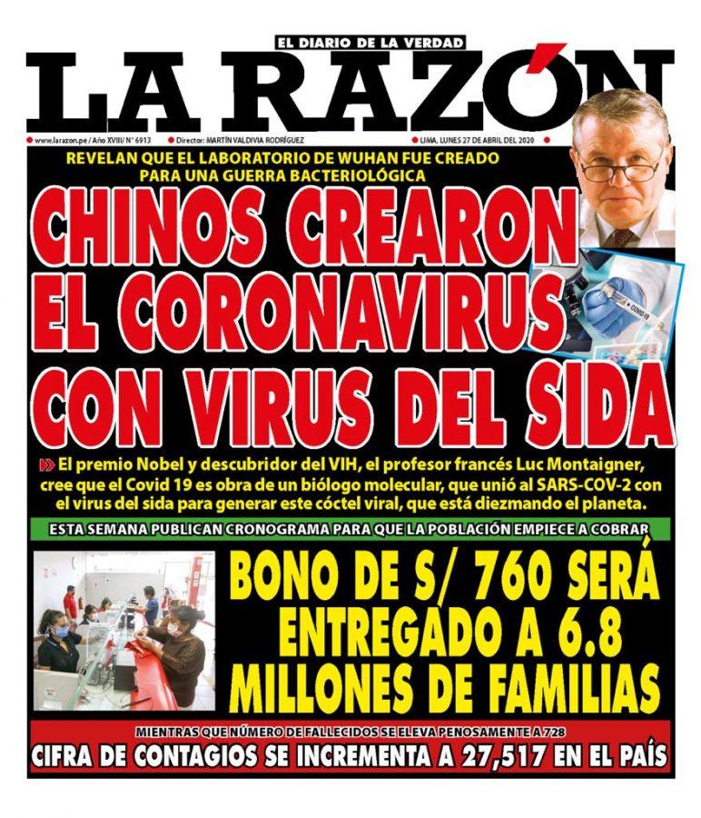 Portada impresa – Diario La Razón (27/04/2020)