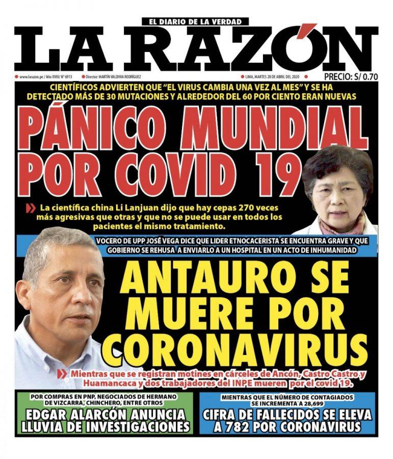 Portada impresa – Diario La Razón (28/04/2020)