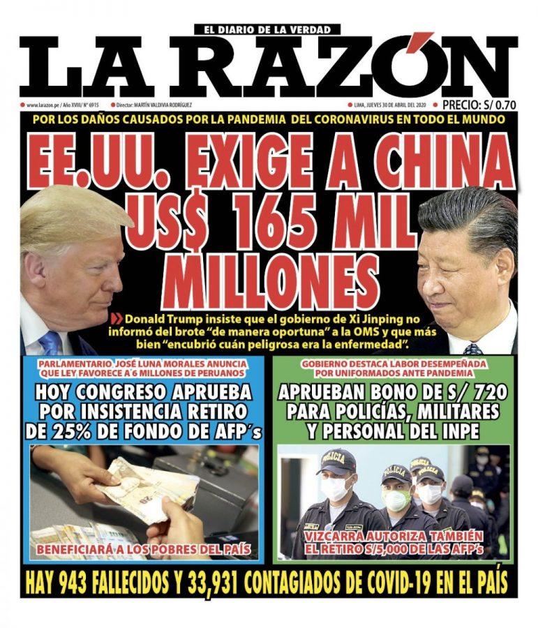 Portada impresa – Diario La Razón (30/04/2020)