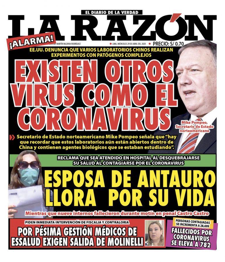 Portada impresa – Diario La Razón (29/04/2020)