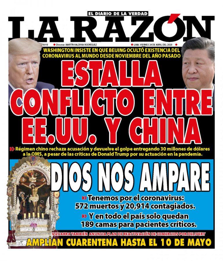 Portada impresa – Diario La Razón (24/04/2020)
