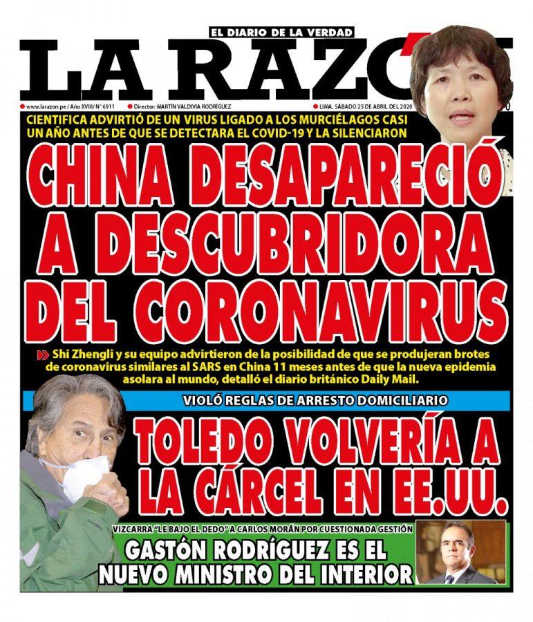 Portada impresa – Diario La Razón (25/04/2020)