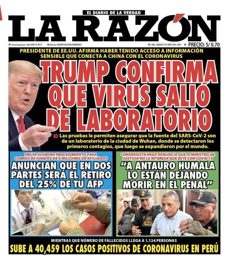 Portada impresa – Diario La Razón (02/05/2020)