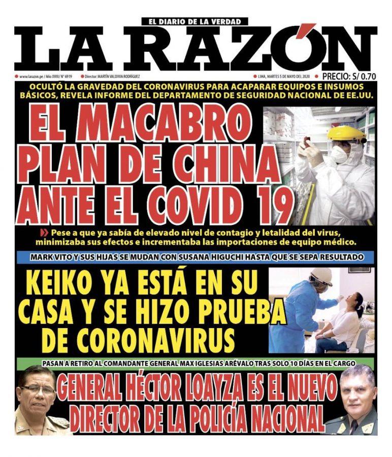 Portada impresa – Diario La Razón (05/05/2020)