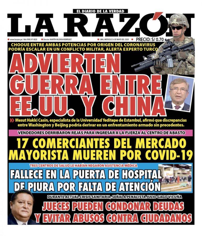 Portada impresa – Diario La Razón (06/05/2020)