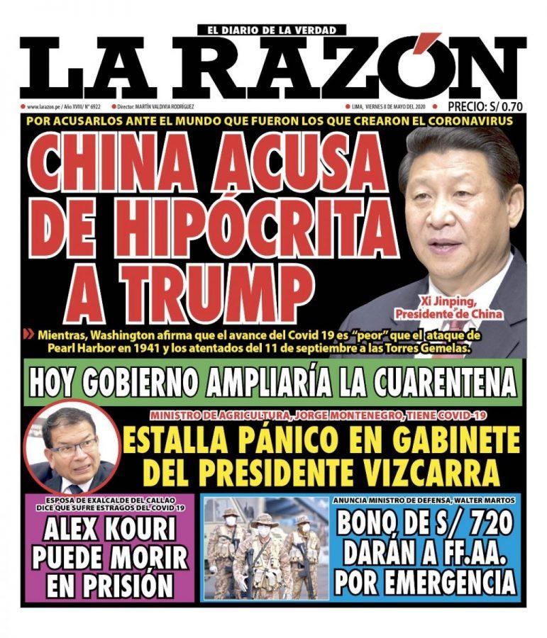 Portada impresa – Diario La Razón (08/05/2020)