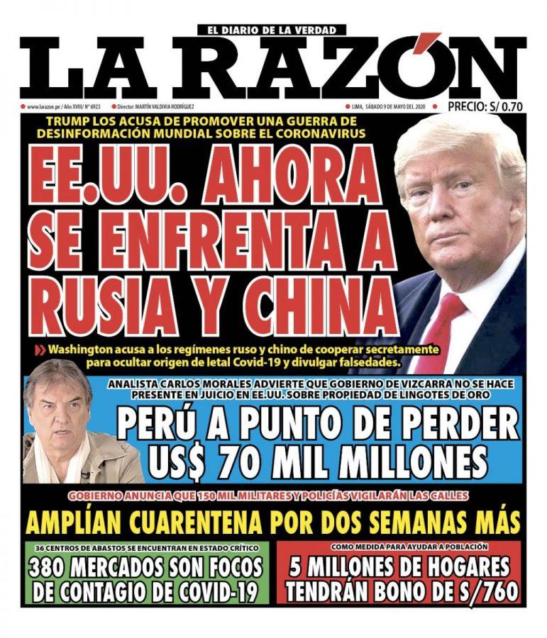Portada impresa – Diario La Razón (09/05/2020)