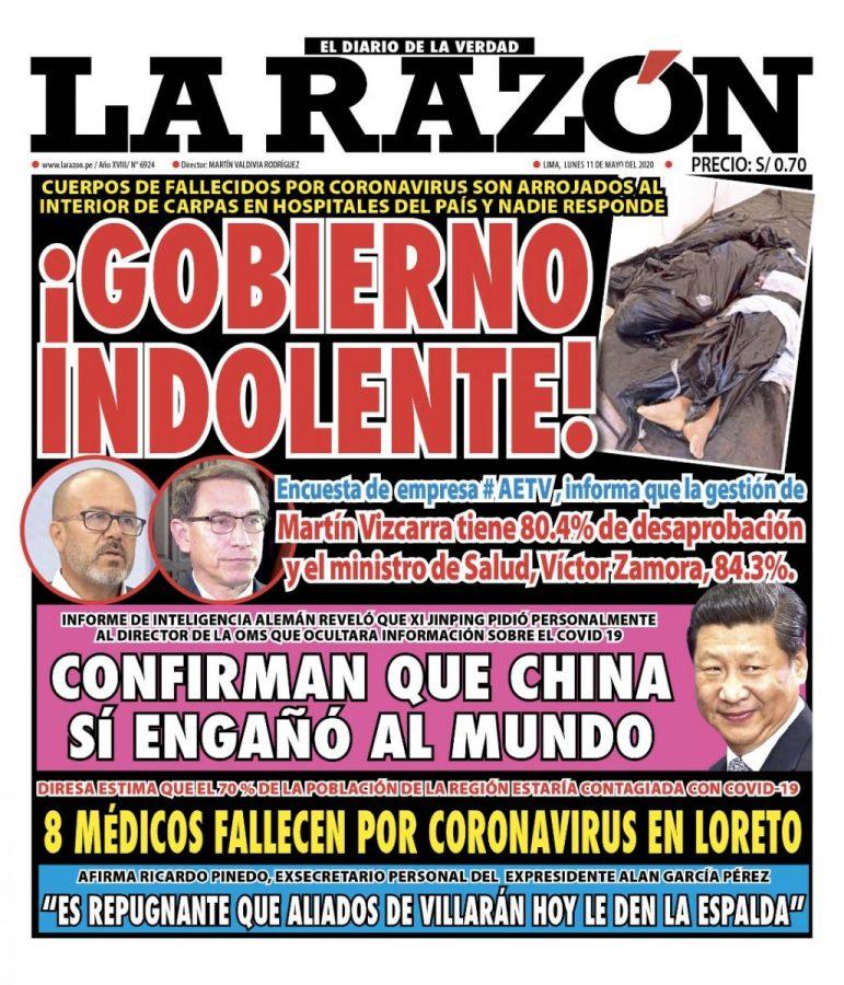 Portada impresa – Diario La Razón (11/05/2020)