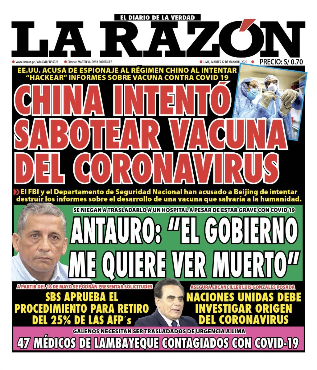 Portada impresa – Diario La Razón (12/05/2020)